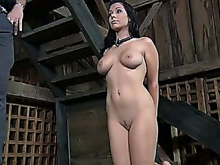 Appetizing Breasty Dark Brown Is Awaiting For Torture Standing On Knees