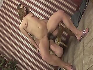 Slutty Brunette Teen Rides Big Cock On Handicapped Guy
