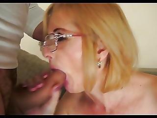 Anal, éjaculation, Lunettes, Mature, Sexe, Jouets