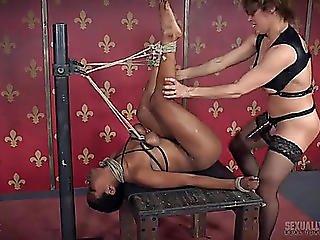 Rope Tied Milk Sacks Hurt As That Guy Copulates The Dark Babe