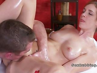 Brown Haired Euro Babe With Nice Ass Got Massage Naked Then Took Masseurs Dick Into Mouth Before Shoved It Into Tight Pussy All Oiled Up