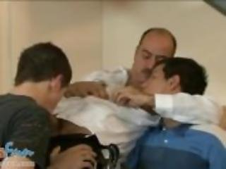 Aged cop enjoys gangbang with young troublemakers