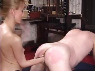 Blonde Domme Fisting And Pegging Her Slave