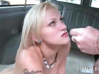 Blonde Slut Gets Double Fucked In Bus Some
