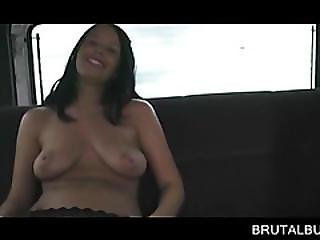 Chesty Brunette Stretching Pussy In The Sex Bus