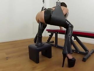 Latexangel Fucks A Horsecock-dildo And Sucks Cock