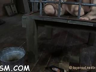 Chained Up Beauties Get Their Pussy Drilled By Torturer