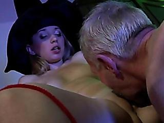 A Beautiful Slutty Blonde Teen Witch Gets Her Pussy Licked And Fucked By Horny Grandpa