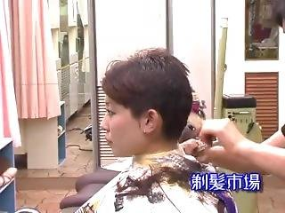 Japanese Beautiful Woman Haircut And Headshave