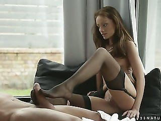Dark Brown Sophie Lynx Receives A Mouthful Of Meat Stick In Oral Sex Act With Concupiscent Stud