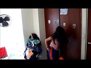 Latina Teen Changing On Spy Cam