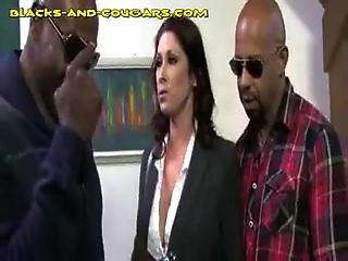 Sexy Hot Cougar Sucks Two Black Cocks