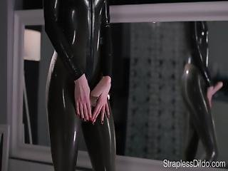 Catsuit, Cumshot, Dildo, Facial, Heels, Latex, Office, Panties, Pantyhose, Solo, Strapon, Wet