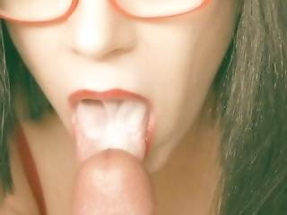 Milf In Glasses Strokes And Sucks Cock Until Swallowing It All