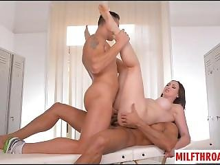 Brunette Milf Threesome With Cum In Mouth