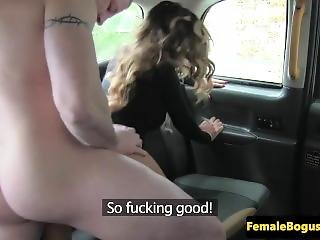 Busty British Cabbie Doggystyled On Backseat