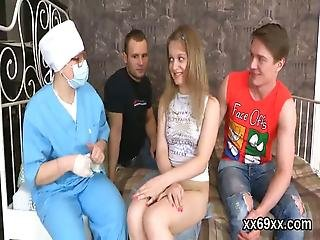Stud Assists With Hymen Checkup And Plowing Of Virgin Teenie