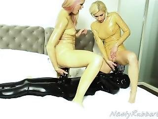Latex Catsuit Lesbian Threesome