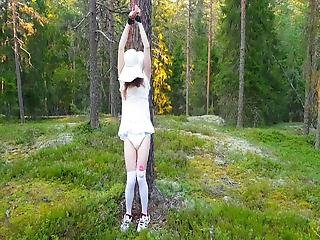 Outdoor Bondage With Diaper And Vibrator