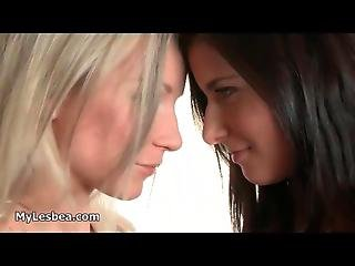 Sexy Blonde And Brunette Lesbians
