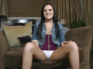 Babe, Brunette, Interview, Panties, Pussy, Reality, Skirt, Spreading, Upskirt, White, Young