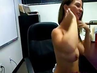 Office Strip While At Work