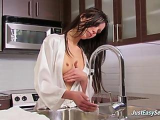 Beautiful Chick Masturbating In Kitchen