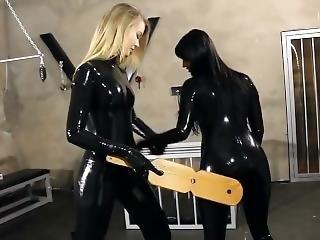 Svetlana Spanking In Black Latex Catsuit + Aftershooting