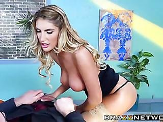 Busty Brunette Beauty August Ames Seduces Her Boss Charles