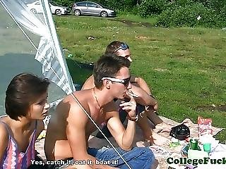 College Skank Eager For Spitroast Outdoors