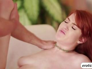 Sexy Redhead Gwen Fucked Her Lover Hard On A Couch