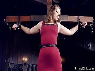 Hot Brunette Slut Dani Daniels Handcuffed To Wooden Cross Gets Pussy Rubbed And Fingered Then Laid On The Floor And Pussy Vibrated