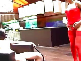 Naughty Blonde Ts Fucked Bareback By A Masked Man