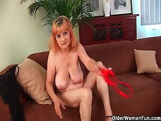 Hairy Grandma Gunda With Her Big Tits Has Solo Sex