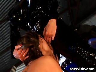 Nasty Latex Lesbians Strap On Dildo Fuck