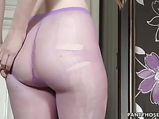 Redhead Rips Ladders In Stockings
