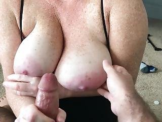 Cum On My Giant Freckled Tits - Sorry About The Foot Cramp!