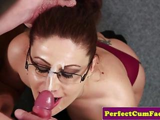Tattooed Uk Babe Gets Face Covered With Cum