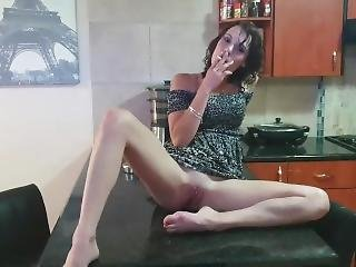 Sexy Dirty Slut Smoking Cigarette And Showing Off Her Pussy And Ass Upskirt