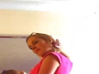 Caz Wearing Her Pink Dress & White Heels