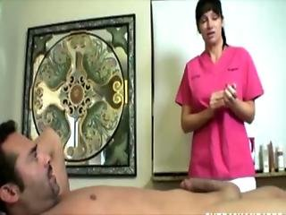 Busty nurse mature milf tugging on dick for this lucky guy