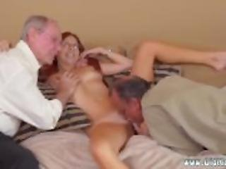 Girl sucking old mans cock and old men
