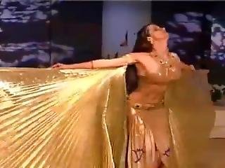 Sexy Arab Bellydancer In Sexy Golden Outfit
