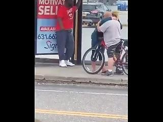 Dude With No Hands Fucks Chubby Drunk Girl At Bus Stop