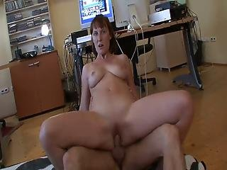 Amateur Mom Sits On Hard Cock In Office