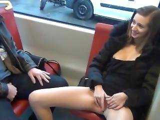 Cute Girl Masturbate On Public Transport In Front Of Lucky Guy