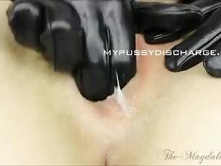 Fingering With Gloves Playing With Cervical Mucus On Sticky Fingers