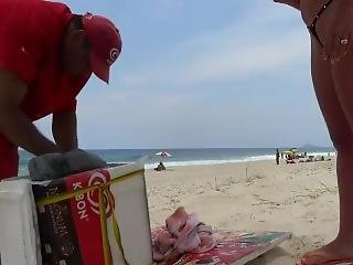 Micro Bikini On The Beach