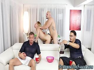 blondynka, córka, twarz, hardcore, Nastolatki