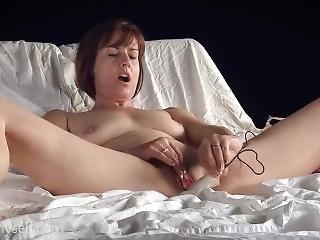 amatør, babe, vakker, brunette, onanering, milf, orgasme